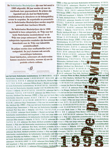 vouwvel voor de prijswinnaars Nederlandse meubelprijzen 1998