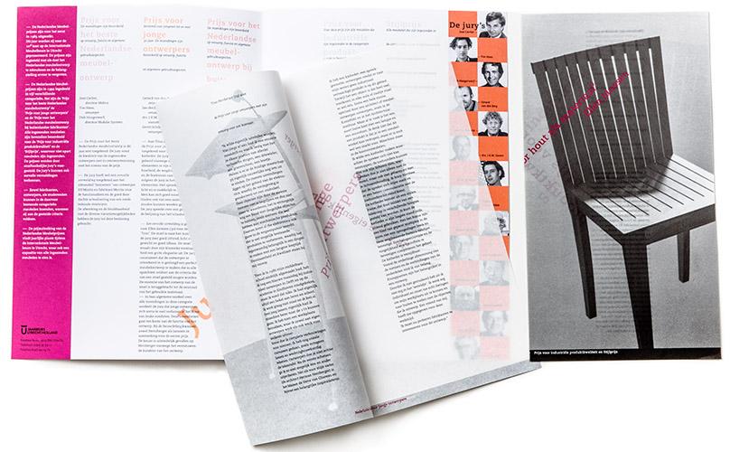prijswinnaarsbrochure met losse inlegvellen Nederlandse Meubelprijzen 1994