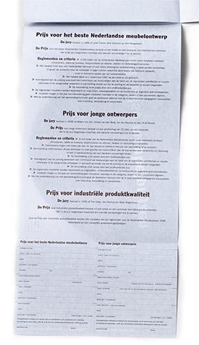 aanmelding in de vorm van een banderol voor Nederlandse meubelprijzen 1998