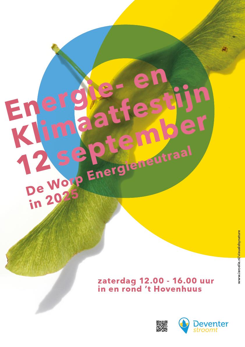 poster voor buurtinitiatief De Worp energieneutraal in 2025, deventer stroomt