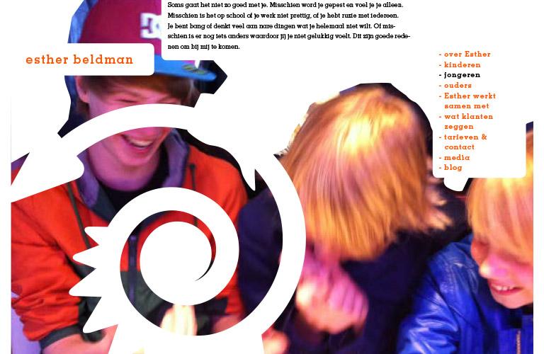 paginaschets voor de website van Esther Beldman